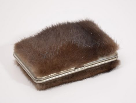 Business card holder decorated with mink fur