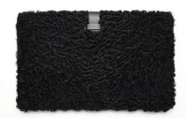 Leather laptop case decorated with Swakara fur