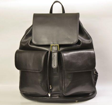 Leather backpack, black