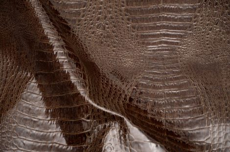 Cow leather with cayman texture, brown