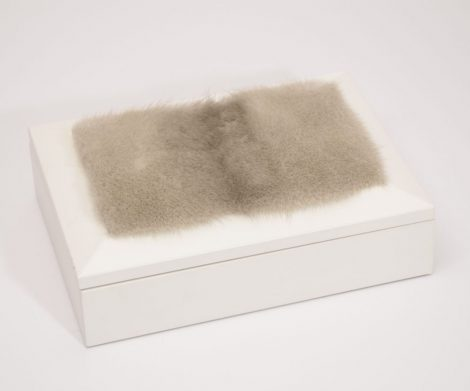 Jewellery box decorated with mink fur