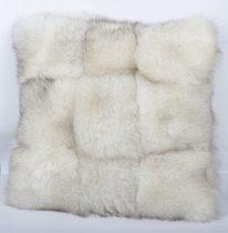 Blue fox fur pillow